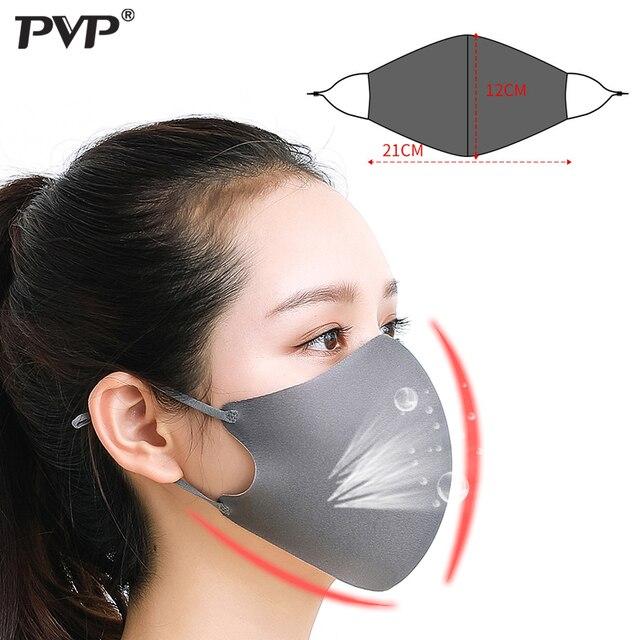 PVP 3Pcs Black Bilayer Sponge Mouth Mask Anti Haze Dust Washable Reusable Double Layer Dustproof Mouth-muffle Wind Proof  Mask 3
