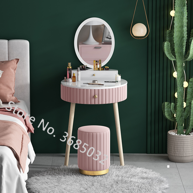 Nordic Pink Dresser Table Set With Drawer + Mirror + Stool Creative Make-up Dressers Table Wooden Legs Bedroom Furniture 60cm