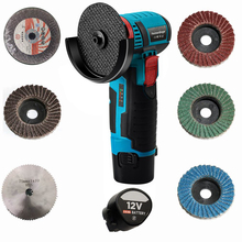Mini 12 Volt. brushless cordless angle grinder mini cutter with saw blade&two battery
