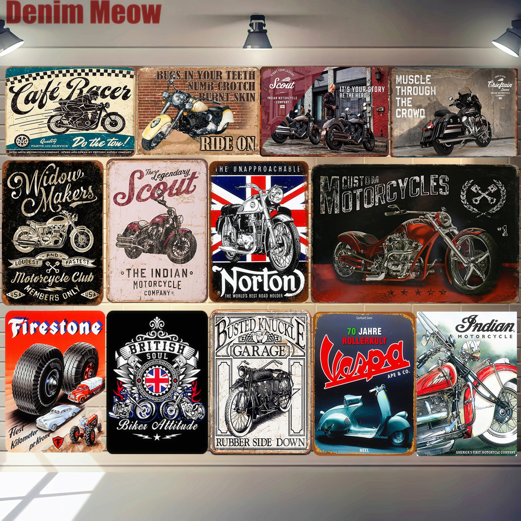 Biker Grandad Car Motorcycle Metal Poster Vespa Retro Plaque Wall Art Painting Plate Pub Bar Garage Decor Vintage Tin Sign MN125(China)