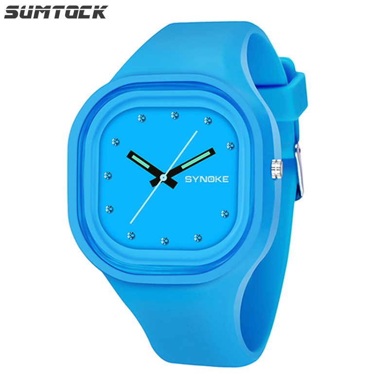 SUMTOCK Student Kids Quartz Watches Silicone Strap Comfort Gift For Children Watch Blue Red Boys Girls 3M Waterproof Watch