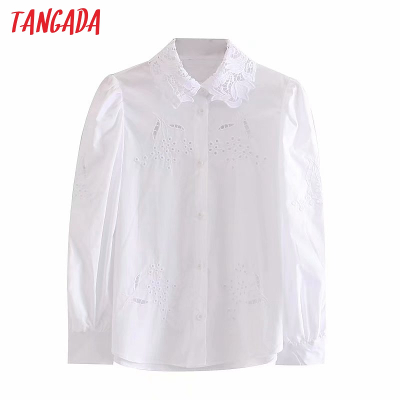 Tangada Women Vintage Embroidery White Blouse Hollow Out 2019 Peter Pan Collar Sweet Long Sleeve Shirts Female Chic Tops 4M85