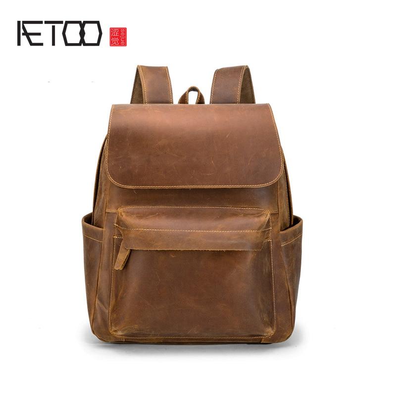 AETOO Handmade Leather Men's Backpack, Vintage Casual Head Leather Shoulder Bag, Female Mad Horse Leather Travel Computer Bag