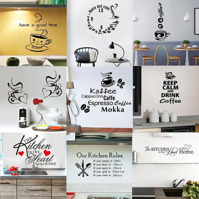 28 styles Coffee Wall Stickers Vinyl Wall Decals Kitchen Stickers English Quote Home Decorative Stickers PVC Dining Room Shop 4