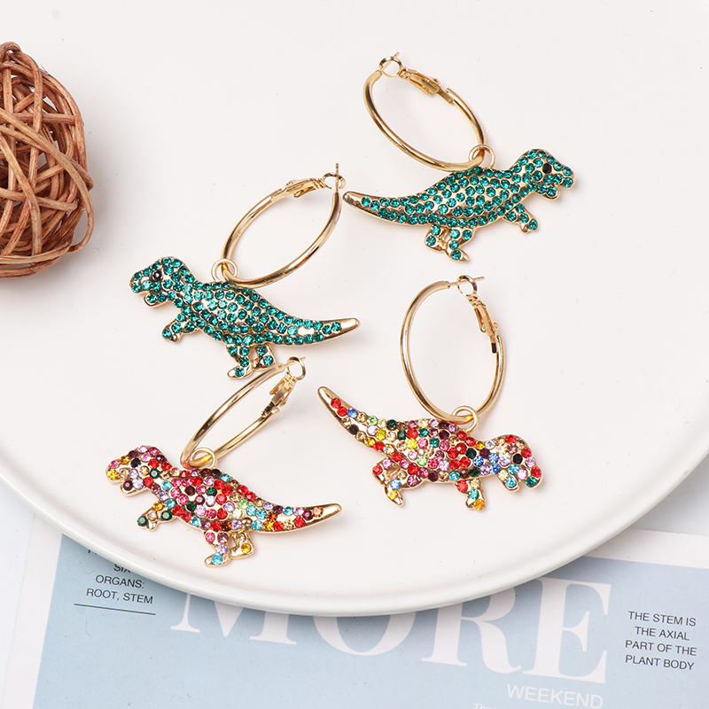 Fashion Dinosaur Hoop Earrings For Women Trendy Crystal Animal Earrings Statement Party Jewelry