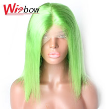 Lace Front Wigs Mongolian Hair Short Bob Straight Remy Human Hair 27 30 613# Blue Grey Green Orange Red Purple Yellow With Baby(China)