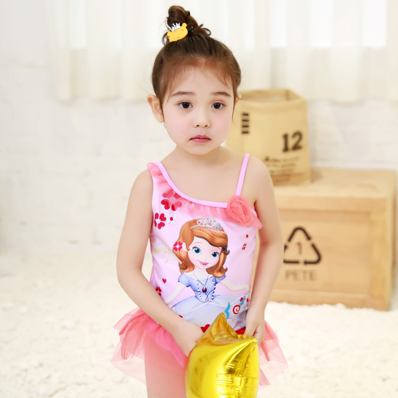 2017 New Style Tour Bathing Suit Sweet Cute Princess Girls Dress-One-piece KID'S Swimwear GIRL'S Hot Springs Swimwear