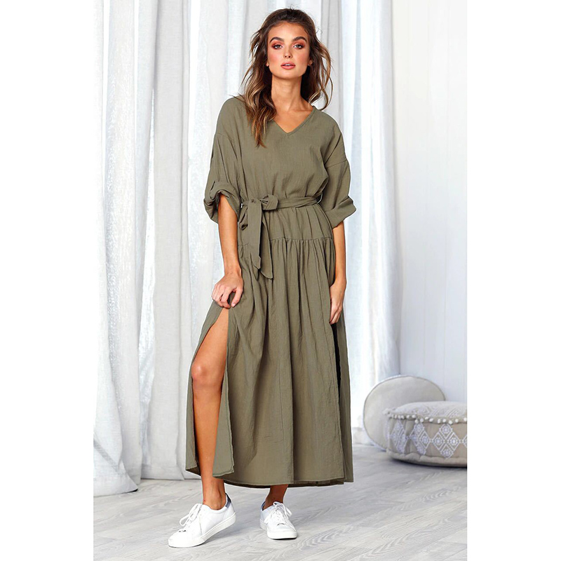 Women Dress Cotton Linen V-Neck Pleated Split Loose Waist Long-Sleeved Round Neck Casual Solid Dresses