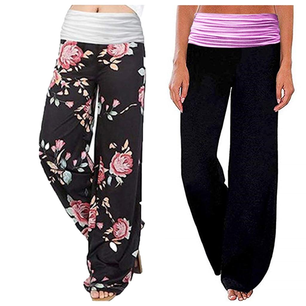 Women's Pants Ladys Casual High Waist Loose Pants Trousers Comfy Stretch Printing Wide Leg Pants Beach Capris Ladies Clothing