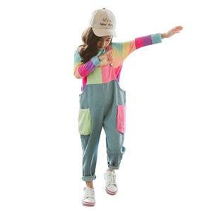 Image 1 - ילדי בגדי פסי T חולצה & סרבל בנות תלבושות סרבל ג ינס בנות חליפת ילדים מזדמנים סתיו חורף חליפות בנות
