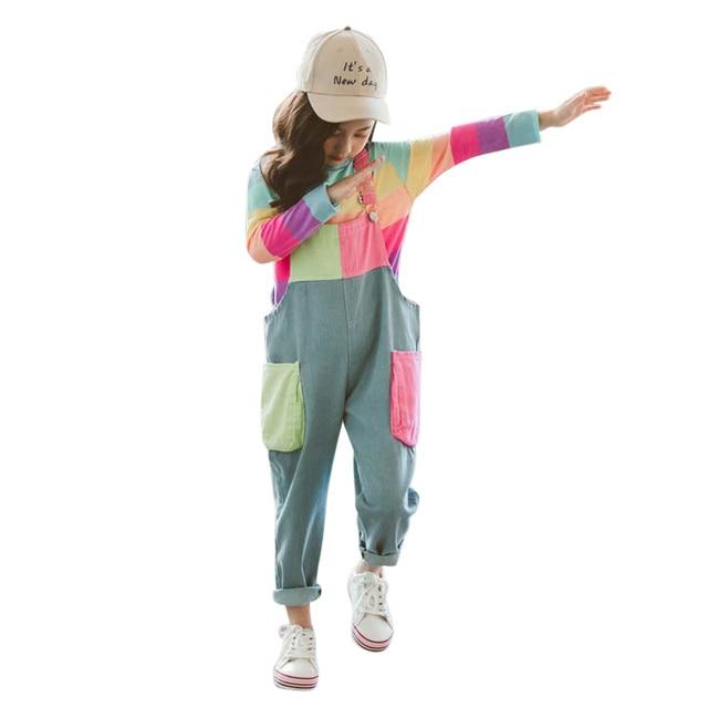 ילדי בגדי פסי T חולצה & סרבל בנות תלבושות סרבל ג ינס בנות חליפת ילדים מזדמנים סתיו חורף חליפות בנות