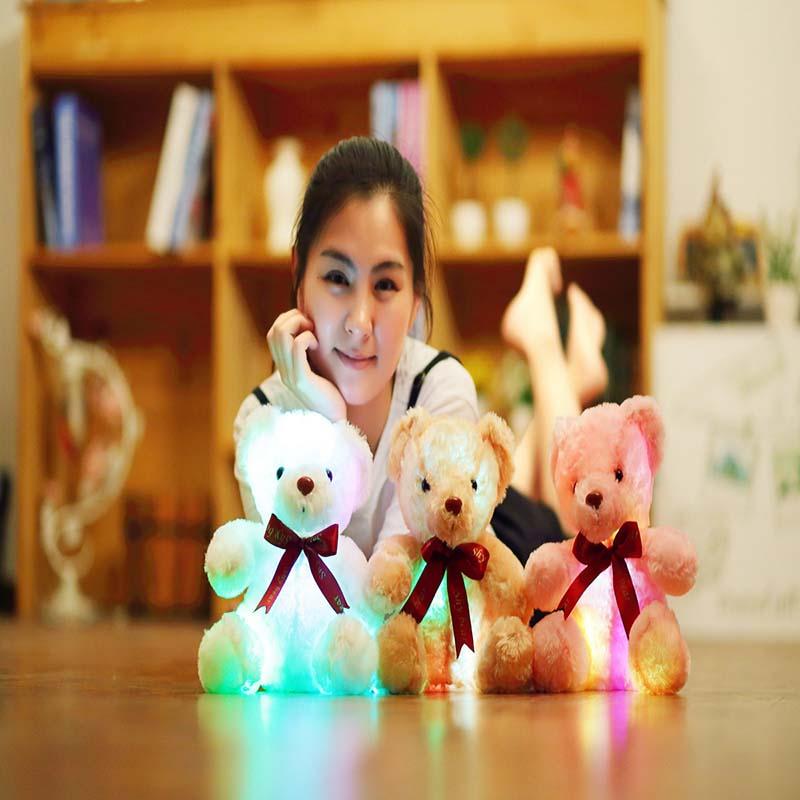 1 pcs sentado 25cm kawaii brilhante urso de pelucia luminosa led luz brinquedos de pelucia adoravel