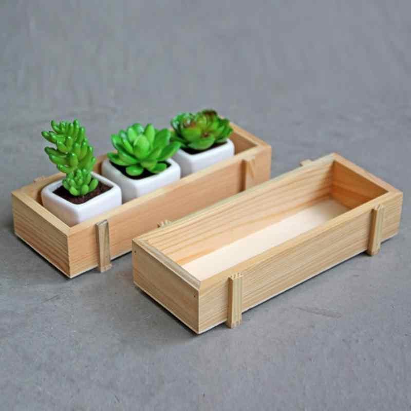Kayu Tanaman Tray Pot Bunga Dekoratif Kayu Alami Bunga Planter Succulent Tanaman Kasus Meja Pot Bunga Perlengkapan Berkebun