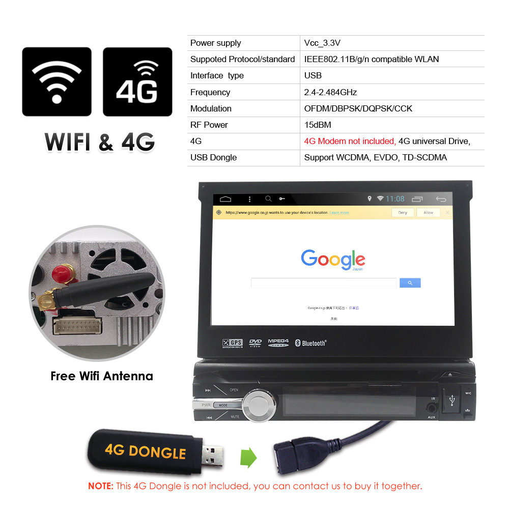 Single 1 Din 7'' quad core Universal Android 9,0 2GB RAM Auto Radio Stereo GPS Navigation WiFi 1024*600 Touchscreen 1din Auto PC
