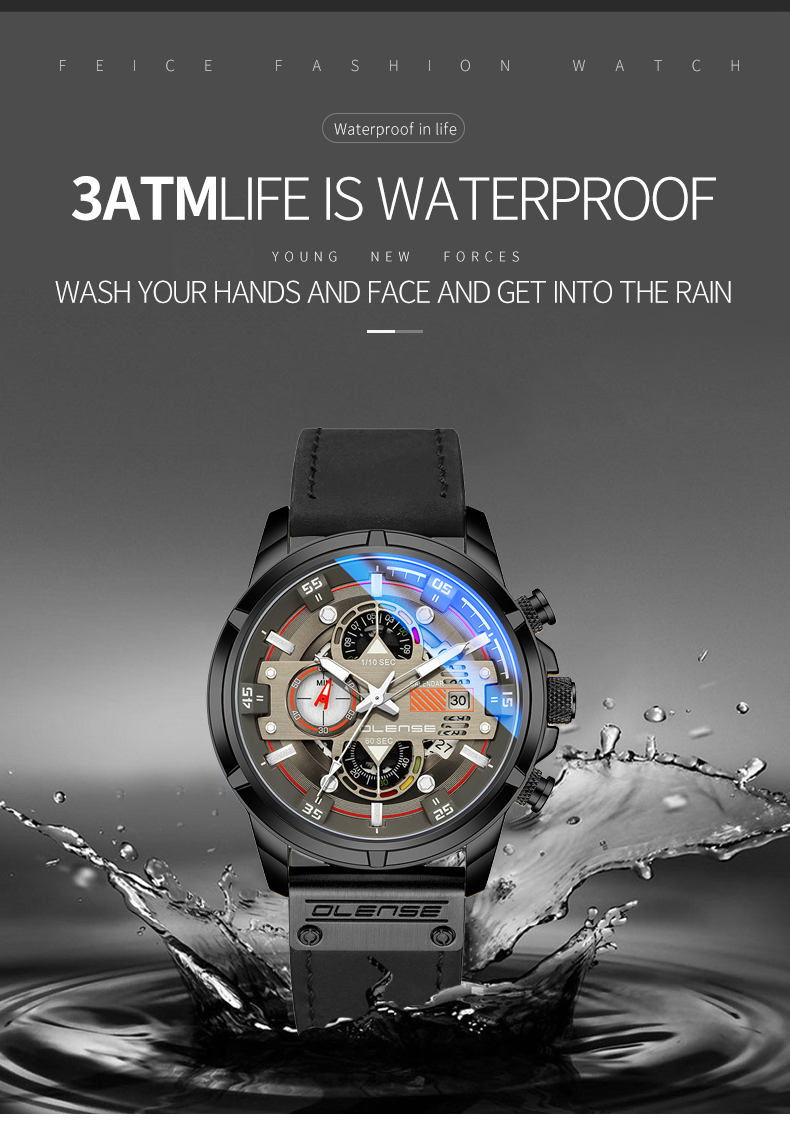 de couro à prova dwaterproof água relógio