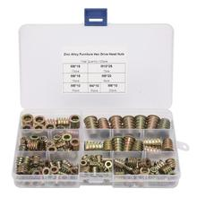 Stainless Steel Square Nuts 120pcs M4/M5/M6/M8/M10 Zinc Inside & Outside Teeth Screw Insert Hex Assortment Kit