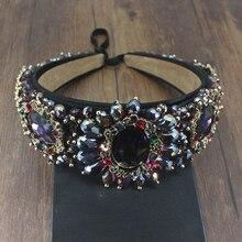 Barroca Vintage lujo hecho a mano real púrpura negro cristal gema diadema Diamante de imitación para bodas tocado joyería para el pelo