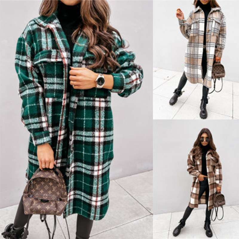 traf za autumn winter long-sleeved lapel casual plaid- coat -blouse пальто женское пальто veste femme пиджак женский wesay jesi