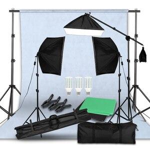 Зеленый экран нетканый Фон Поддержка Стенд набор 20 Вт светодиодные вплетения в волосы Свет бум стенд Студия фото видео Освещение комплект