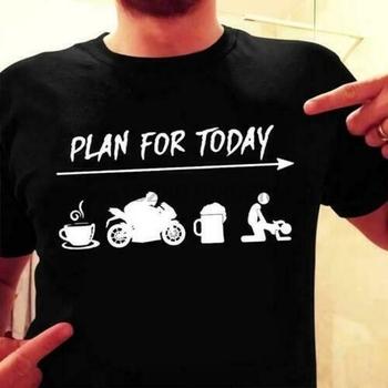 Biker Plan na dziś rower do sprzedaży kawy piwo śmieszne mężczyźni T-Shirt bawełna S-6XL(1) tanie i dobre opinie SHORT Z okrągłym kołnierzykiem Short sleeve white t-shirt tshirts Black White tee shirt t shirt tops Sukno COTTON Na co dzień