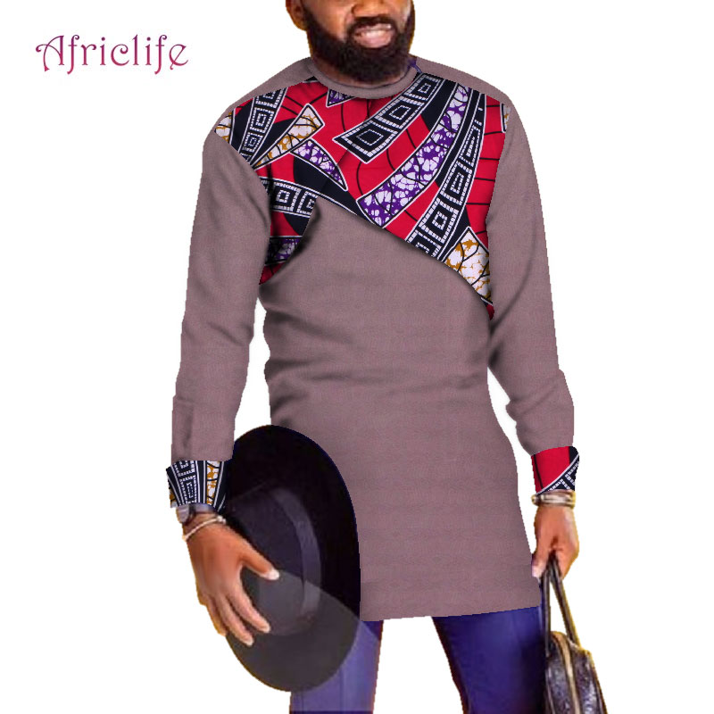 <font><b>African</b></font> Splice <font><b>Shirt</b></font> for <font><b>Men</b></font> Print <font><b>Wax</b></font> <font><b>African</b></font> Plus Size Custom Full Sleeve Top Dashiki <font><b>Mens</b></font> <font><b>African</b></font> Custom Clothing WYN671 image