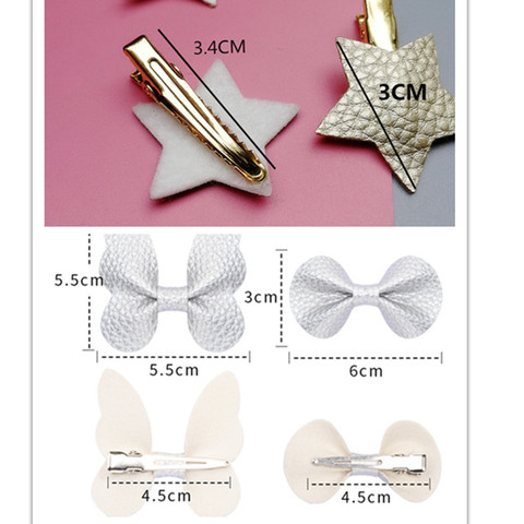 2/6/10pcs/set Synthetic Leather stars butterfly hair clips for girls flower hair Bow hairpin girls children hair accessories Karachi