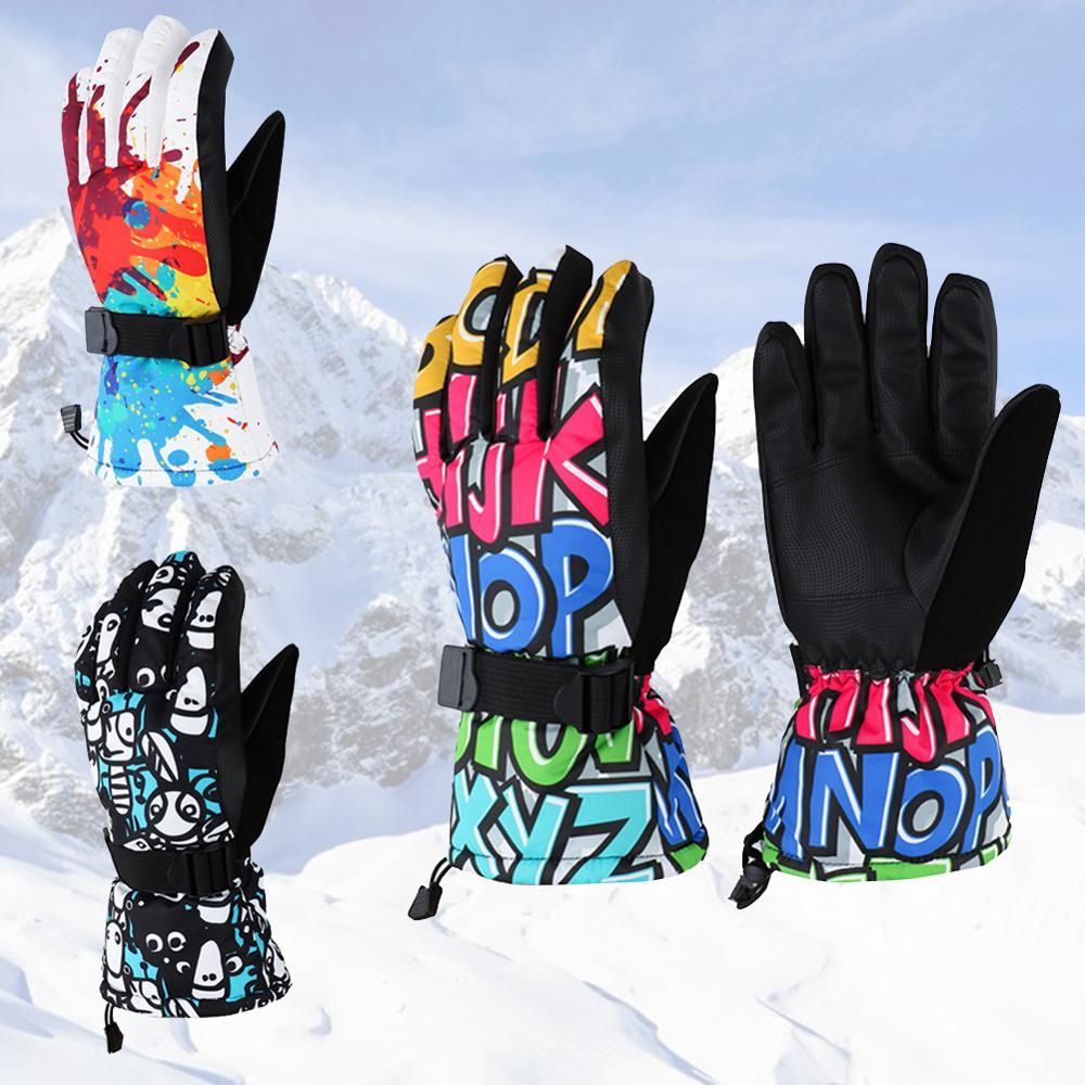 Winter -30 Thicken Ski Gloves Men Women Children Windproof Waterproof Mittens Adjustable Cycling Climbing Snowboard Snow Gloves