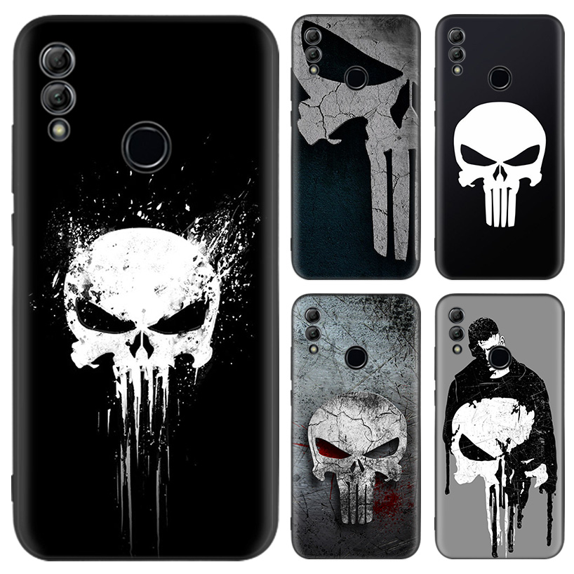 <font><b>Marvel</b></font> Punisher Black <font><b>Case</b></font> for <font><b>Huawei</b></font> Honor 9X 8X Y9 7S 7X 9 10 Lite 8A Pro 20i Y5 Y6 <font><b>Y7</b></font> <font><b>2019</b></font> Soft Phone Cover image