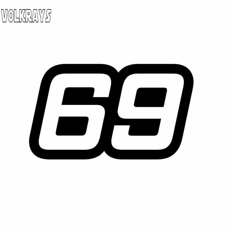 Volkrays kişilik araba Sticker numarası 69 aksesuarları yansıtıcı su geçirmez güneş koruyucu vinil çıkartması siyah/gümüş/beyaz, 7cm * 14cm