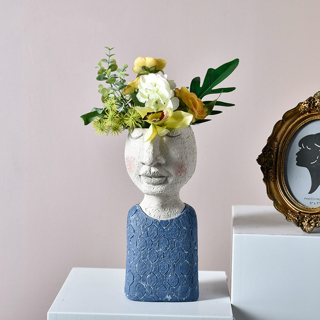 Art portrait sculpture flower pot Nordic Creative dried flower arrangement vase Home Garden decoration Flower Planter Bonsai Pot 2