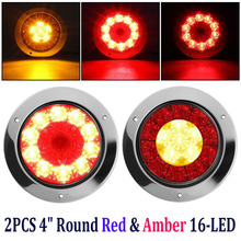 1 Pair 4 Round 16 LEDs Truck Trailer Brake Stop Turn Signal Tail Light Lamp 24V Red + Yellow Rear