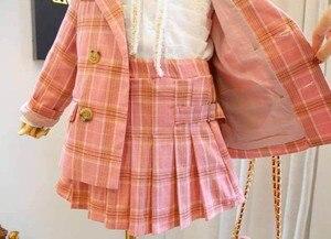 Image 4 - 2019 Autumn New Arrival Girls Fashion Pink Suit Kids 2 Pieces Sets Coat+skirt Children Clothes  Kids Clothes