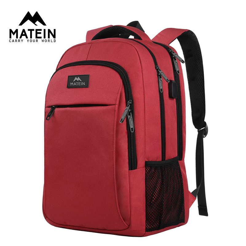 Matein Brand USB Charging Female Backpack Anti Theft 15.6