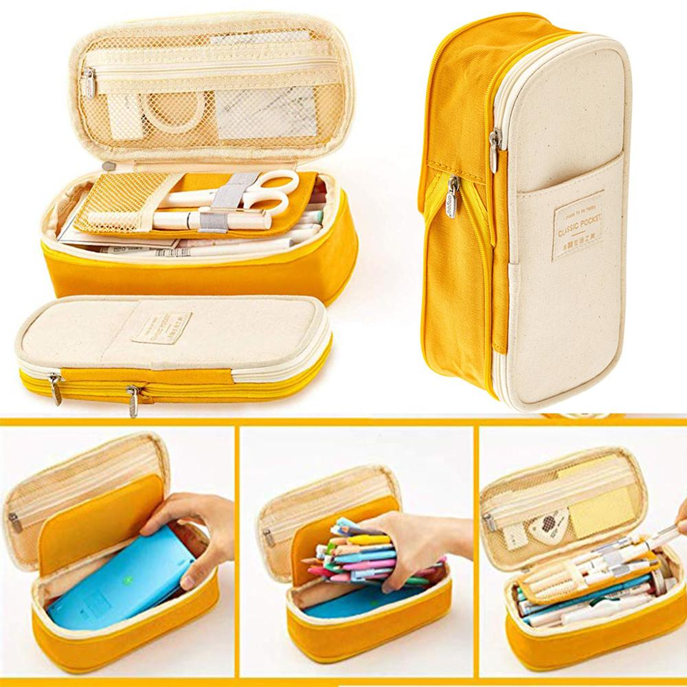 Canvas Pencil Case Bag Large Capacity Zipper Bags School Supplies Multifunctional School Portable Simple Storage Holder