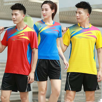 New Badminton shirts Men Women sport shirt Tennis shirts table tennis t-shirt Quick dry sports training tennis t-shirts 1822 tanie i dobre opinie NoEnName_Null Poliester Krótki Koszule Suknem LINGJ-1822 ZK001 Pasuje prawda na wymiar weź swój normalny rozmiar Tenis