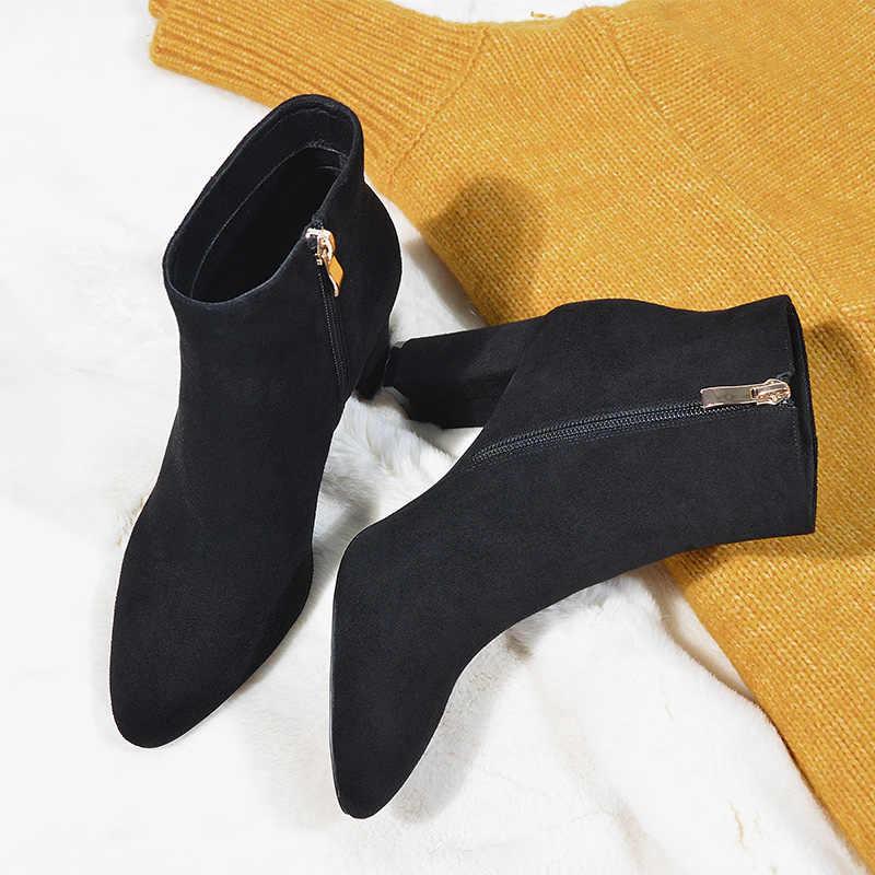 Donna-siyah süet kadın yarım çizmeler kare yüksek topuklu sonbahar zarif sivri burun fermuar deri ayakkabı botas mujer