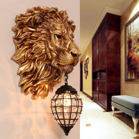 European Retro Gold Lion Wall Lamp Vintage Crystal Wall Sconce Light Fixtures Living Room Bedroom Stair Bar Indoor Wall Lamps