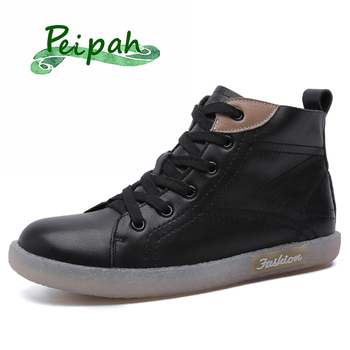 PEIPAH Spring Women' s Genuine Leather Sport Flat Shoes Female Ankle Sneaker Boots Woman Lace Up Rubber Boots Ladies White/Black women boots genuine leather lace up ladies shoes lace up grey black ankle boots light eva sole slip proof martin boots a1