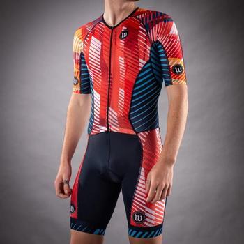 WATTIE personnalisé Lycra rouge peau costume Triathlon hommes cyclisme Kit une pièce cyclisme costume respirant route vélo Skinsuit vélo vêtements