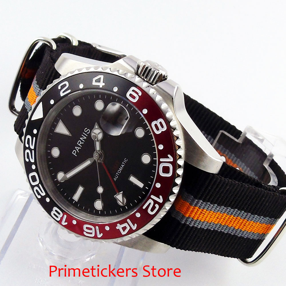 40mm PARNIS black dial sapphire glass black red bezel GMT automatic mens watch nylon strap