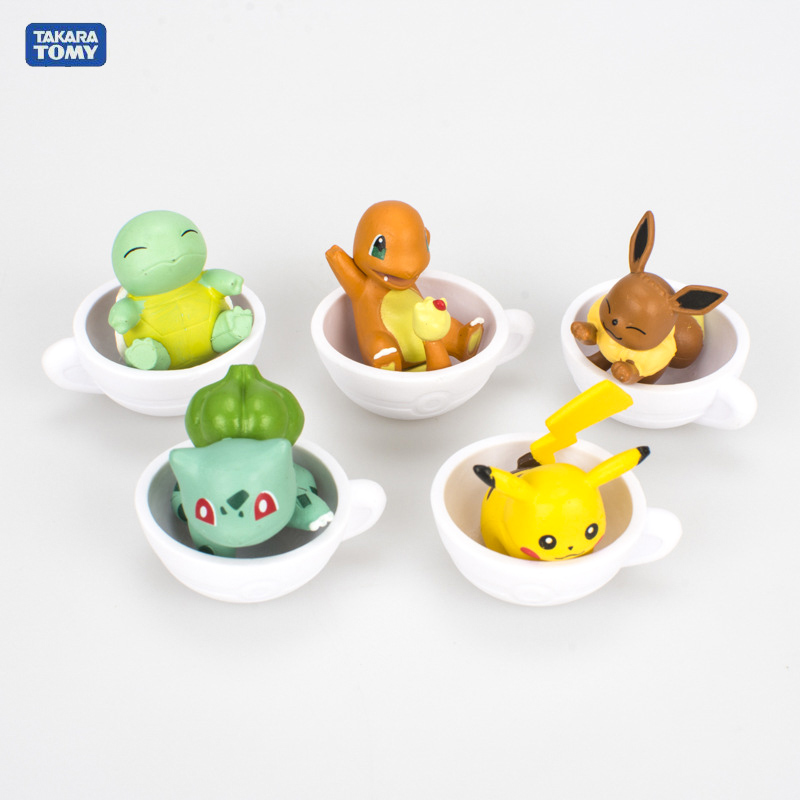 Takara Tomy 5PCS/set Pikachu Eevee Action Figure Pokemon Big Head Doll Sleep Cup Elf Series Ball Children Toy Gifts image