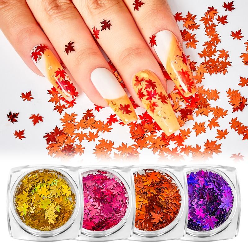 1 Box Maple Leaves Nail Art Sequins Holographic Glitter Flakes Multicolor Leaf Paillette For Nail Gel Polish Design Decoration
