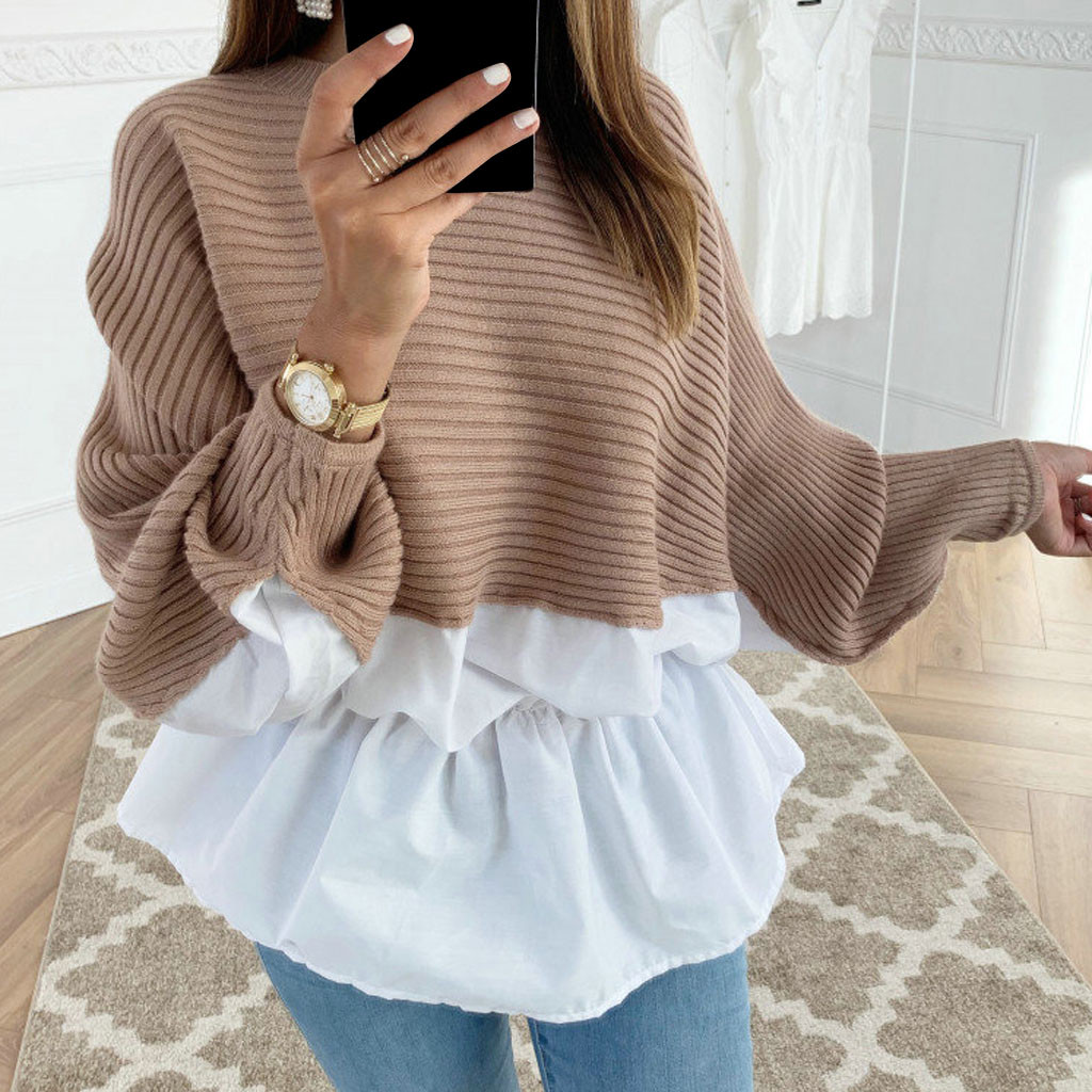 Winter Fashion Ruffled knitted Jumper Sweater Patchwork Loose Shirt Casual Streetwear Female Womens Long Sleeve Blusas Pullover