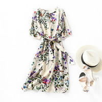Silk Dress Summer Women 2020 New Printing Slim Lace up Waist Round Neck A line Beige 100% Silk Two Piece Dress Knee Length S XL