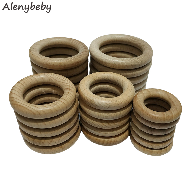 5pcs Nature Beech Wooden Ring Teether 40-70mm Wood Circle Baby Infants Teething Round Ring Care Product DIY Wooden Teethers