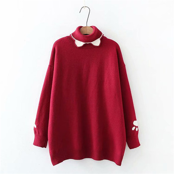 Kawaii Turtleneck Sweater Women Winter Korean Warm Cute Red Knitted Jumper Christmas Knitwear Female Roll Collar Black Pullover christmas snowflake patterned tunic turtleneck sweater