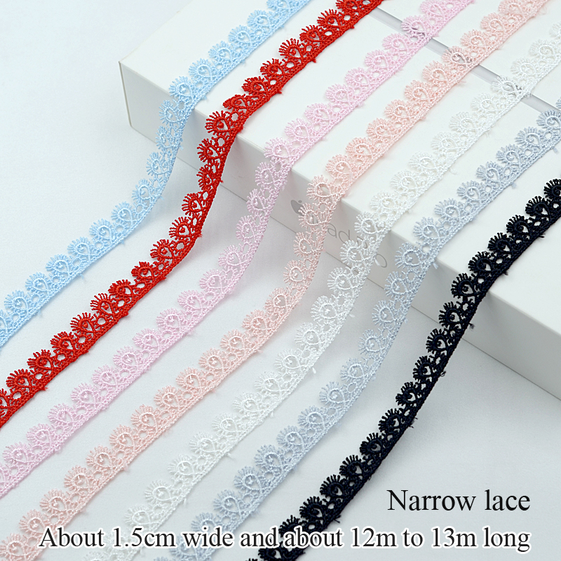 12-13m Lace Fabric High Quality Width 1.5cm Lace Accessories Colored Ribbon Trim Trimmings For Sewing Clothing Collar And Cuff