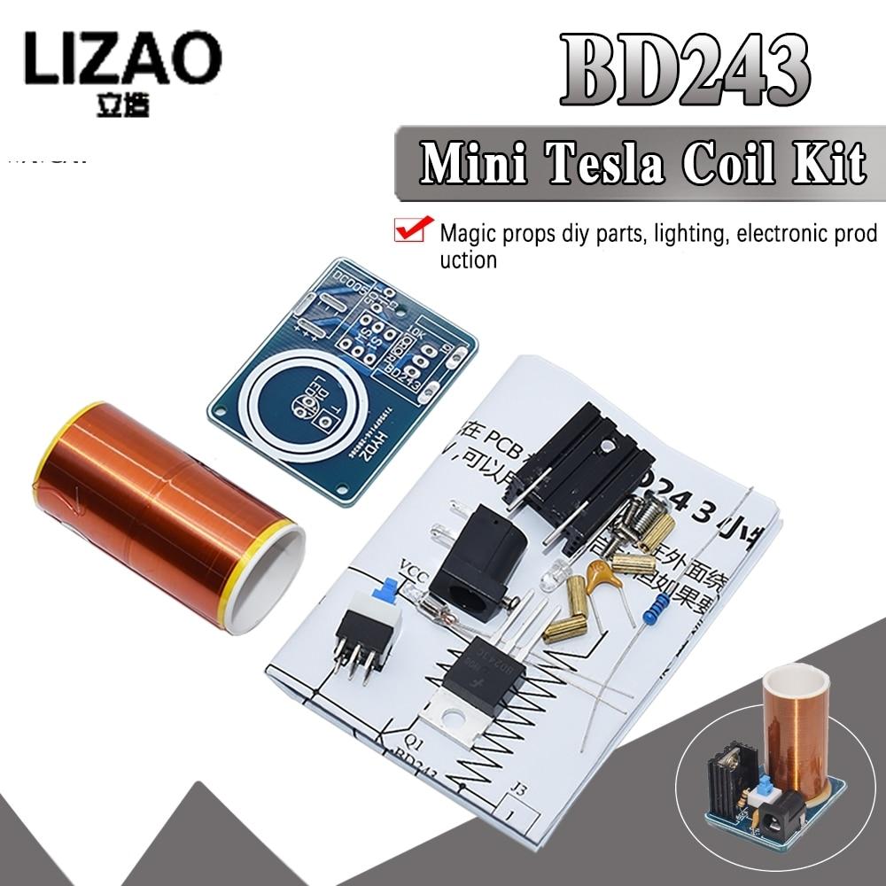WAVGAT BD243 Mini Tesla Coil Kit Magic Props DIY Parts Empty Lights Technology Diy Electronics BD243C