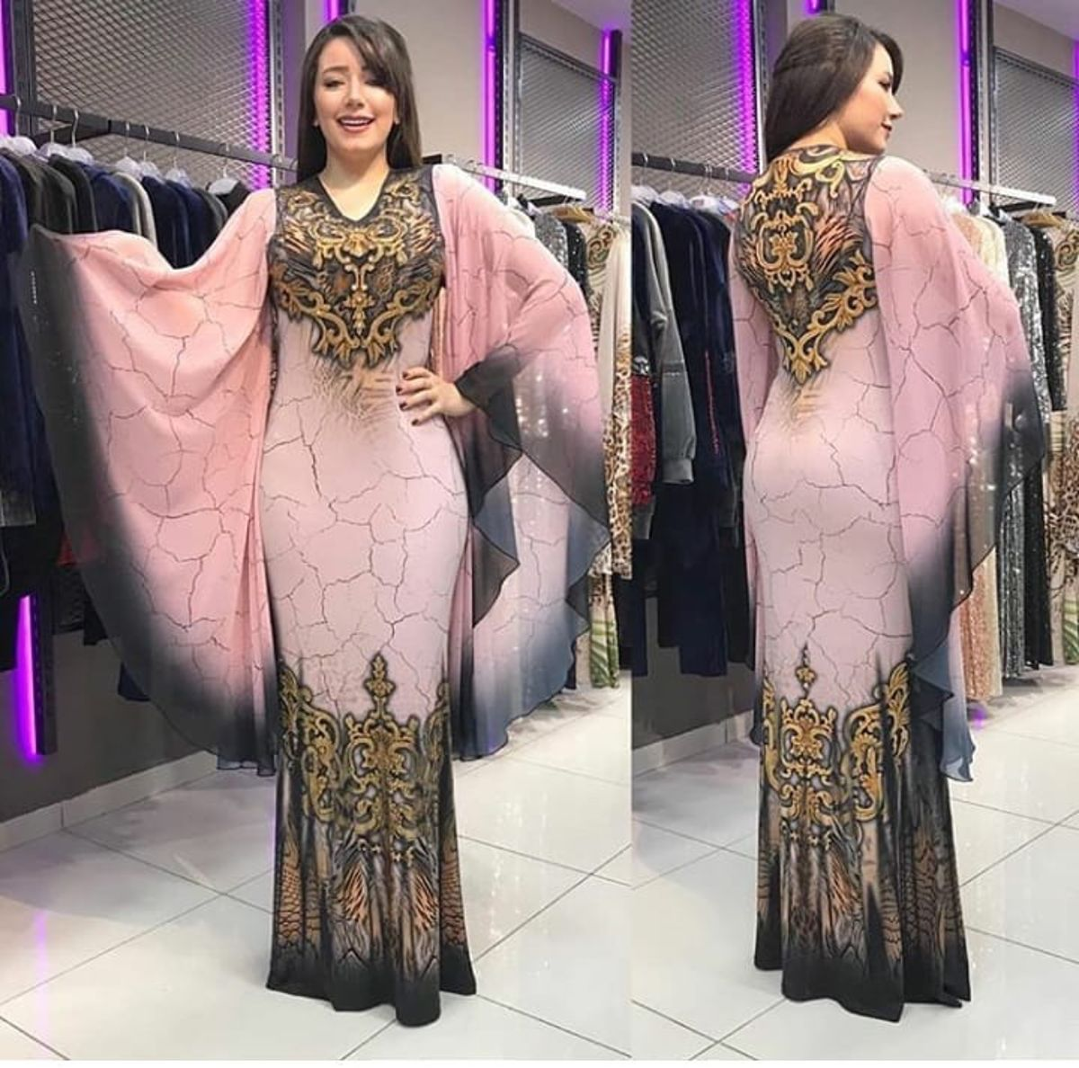 2019 New Arrival Summer Fashion Style Elegent African Women Printing Plus Size Long Dress L-2XL