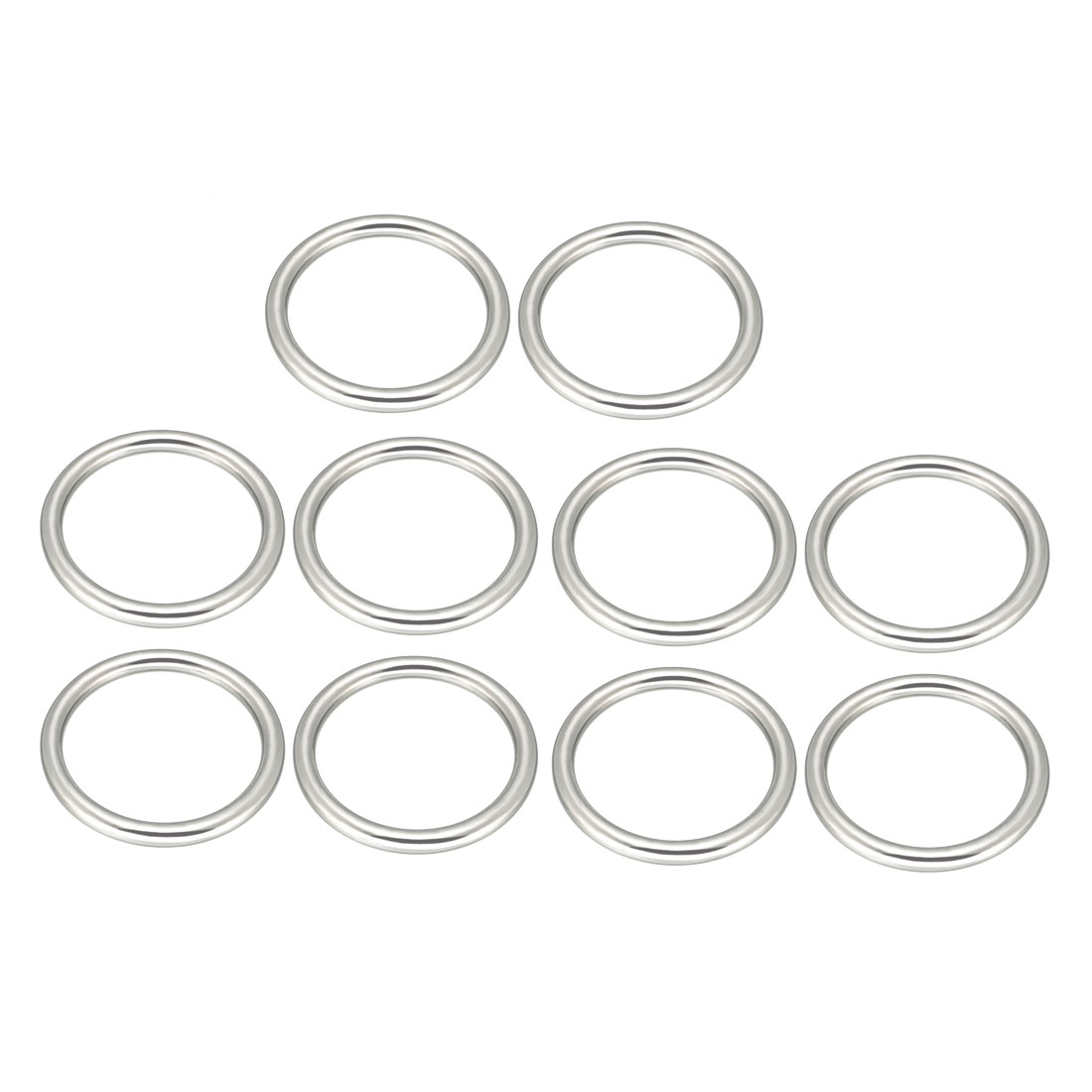 Uxcell 10 Pcs Multi-Purpose Metal O Ring Buckle Welded 50mm X 40mm X 5mm For Hardware Bags Ring Hand DIY Accessories